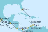 Visitando Los Ángeles (California), Cabo San Lucas (México), Puerto Vallarta (México), Puerto Quetzal (Guatemala), Puerto Caldera (Costa Rica), Canal Panamá, Cartagena de Indias (Colombia), Santa Marta (Colombia), Aruba (Antillas), Miami (Florida/EEUU)