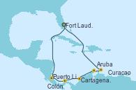 Visitando Fort Lauderdale (Florida/EEUU), Puerto Limón (Costa Rica), Colón (Panamá), Cartagena de Indias (Colombia), Aruba (Antillas), Aruba (Antillas), Curacao (Antillas), Fort Lauderdale (Florida/EEUU)