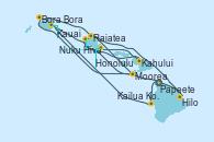 Visitando Papeete (Tahití), Bora Bora (Polinesia), Raiatea (Polinesia Francesa), Moorea (Tahití), Nuku Hiva (Polinesia Francesa), Hilo (Hawai), Kailua Kona (Hawai/EEUU), Kauai (Hawai), Kahului (Hawai/EEUU), Honolulu (Hawai)