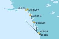 Visitando Seattle (Washington/EEUU), Juneau (Alaska), Skagway (Alaska), Glaciar Bay (Alaska), Ketchikan (Alaska), Victoria (Canadá), Seattle (Washington/EEUU)