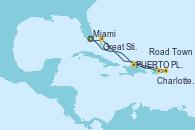 Visitando Miami (Florida/EEUU), PUERTO PLATA, REPUBLICA DOMINICANA, Charlotte Amalie (St. Thomas), Road Town (Isla Tórtola/Islas Vírgenes), Great Stirrup Cay (Bahamas), Miami (Florida/EEUU)