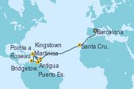 Visitando Barcelona, Santa Cruz de Tenerife (España), Antigua (Antillas), Bridgetown (Barbados), Martinica (Antillas), Pointe a Pitre (Guadalupe), Puerto España (Trinidad y Tobago), Kingstown (Granadinas), Roseau (Dominica), Antigua (Antillas), Martinica (Antillas), Pointe a Pitre (Guadalupe)