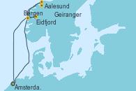 Visitando Ámsterdam (Holanda), Eidfjord (Hardangerfjord/Noruega), Aalesund (Noruega), Geiranger (Noruega), Bergen (Noruega), Ámsterdam (Holanda)