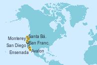 Visitando San Diego (California/EEUU), Avalon (California/EEUU), Santa Bárbara (California), Monterey (California), San Francisco (California/EEUU), Ensenada (México), San Diego (California/EEUU)