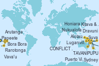 Visitando Papeete (Tahití), Bora Bora (Polinesia), Arutanga (Aitutaki, Islas Cook), Rarotonga (Islas Cook), Vava'u (Tonga), Nukualofa (Tongatapu), Suva (Fiyi), Dravuni (Fiji), Puerto Vila (Vanuatu), Luganville (Vanuatu), TAVANIPUPU, Honiara (Islas Salomón), Alotau (Pupúa Nueva Guinea), Kitava & Naratu (Papua Nueva Guinea), CONFLICT ISLANDS, Cairns (Australia), Sydney (Australia)