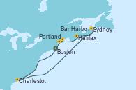 Visitando Boston (Massachusetts), Charleston (Carolina del Sur), Sydney (Nueva Escocia/Canadá), Portland (Maine/Estados Unidos), Bar Harbor (Maine), Boston (Massachusetts)