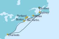 Visitando Quebec (Canadá), Charleston (Carolina del Sur), Sydney (Nueva Escocia/Canadá), Portland (Maine/Estados Unidos), Bar Harbor (Maine), Boston (Massachusetts)