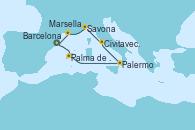 Visitando Barcelona,Palma de Mallorca (España),Navegación,Palermo (Italia),Civitavecchia (Roma),Savona (Italia),Marsella (Francia),Barcelona