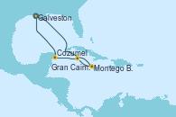Visitando Galveston (Texas),Navegación,Navegación,Montego Bay (Jamaica),Gran Caimán (Islas Caimán),Cozumel (México),Navegación,Galveston (Texas)