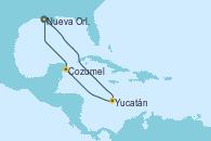 Visitando Nueva Orleans (Luisiana), Yucatán (Progreso/México), Cozumel (México), Nueva Orleans (Luisiana)