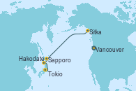 Visitando Vancouver (Canadá), Sitka (Alaska), Sapporo (Japón), Hakodate (Japón), Tokio (Japón), Tokio (Japón)