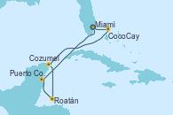Visitando Miami (Florida/EEUU), CocoCay (Bahamas), Cozumel (México), Roatán (Honduras), Puerto Costa Maya (México), Miami (Florida/EEUU)