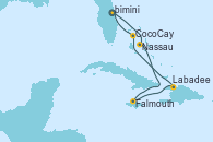Visitando Puerto Cañaveral (Florida), Nassau (Bahamas), Falmouth (Jamaica), Labadee (Haiti), CocoCay (Bahamas), Puerto Cañaveral (Florida)