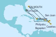 Visitando Fort Lauderdale (Florida/EEUU), Labadee (Haiti), San Juan (Puerto Rico), Philipsburg (St. Maarten), St. John´s (Antigua y Barbuda), Castries (Santa Lucía/Caribe), Basseterre (Antillas), Fort Lauderdale (Florida/EEUU)