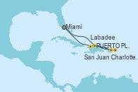 Visitando Miami (Florida/EEUU), PUERTO PLATA, REPUBLICA DOMINICANA, Charlotte Amalie (St. Thomas), San Juan (Puerto Rico), Labadee (Haiti), Miami (Florida/EEUU)