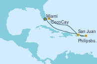 Visitando Miami (Florida/EEUU), CocoCay (Bahamas), San Juan (Puerto Rico), Philipsburg (St. Maarten), Miami (Florida/EEUU)