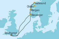 Visitando Southampton (Inglaterra), Bergen (Noruega), Aalesund (Noruega), Olden (Noruega), Stavanger (Noruega), Southampton (Inglaterra)