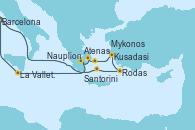 Visitando Barcelona, Santorini (Grecia), Rodas (Grecia), Kusadasi (Efeso/Turquía), Mykonos (Grecia), Atenas (Grecia), Nauplion (Grecia), La Valletta (Malta), Barcelona