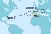 Visitando Tampa (Florida), Ponta Delgada (Azores), Cádiz (España), Málaga, Cartagena (Murcia), Valencia, Barcelona
