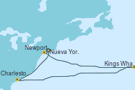 Visitando Nueva York (Estados Unidos), Newport (Rhode Island), Kings Wharf (Bermudas), Kings Wharf (Bermudas), Kings Wharf (Bermudas), Charleston (Carolina del Sur), Charleston (Carolina del Sur), Nueva York (Estados Unidos)