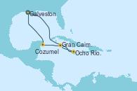 Visitando Galveston (Texas), Ocho Ríos (Jamaica), Gran Caimán (Islas Caimán), Cozumel (México), Galveston (Texas)