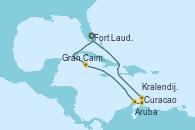 Visitando Fort Lauderdale (Florida/EEUU), Gran Caimán (Islas Caimán), Aruba (Antillas), Curacao (Antillas), Kralendijk (Antillas), Fort Lauderdale (Florida/EEUU)