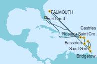 Visitando Fort Lauderdale (Florida/EEUU), Saint Croix (Islas Vírgenes), St. John´s (Antigua y Barbuda), Bridgetown (Barbados), Castries (Santa Lucía/Caribe), Saint George (Grenada), Roseau (Dominica), Basseterre (Antillas), Fort Lauderdale (Florida/EEUU)