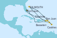 Visitando Fort Lauderdale (Florida/EEUU), San Juan (Puerto Rico), Charlotte Amalie (St. Thomas), St. John´s (Antigua y Barbuda), Castries (Santa Lucía/Caribe), Basseterre (Antillas), Fort Lauderdale (Florida/EEUU)