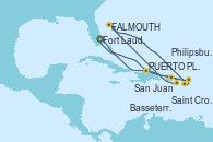 Visitando Fort Lauderdale (Florida/EEUU), PUERTO PLATA, REPUBLICA DOMINICANA, San Juan (Puerto Rico), Saint Croix (Islas Vírgenes), St. John´s (Antigua y Barbuda), Basseterre (Antillas), Philipsburg (St. Maarten), Fort Lauderdale (Florida/EEUU)