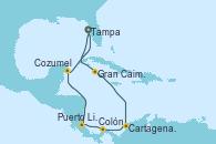 Visitando Tampa (Florida), Gran Caimán (Islas Caimán), Cartagena de Indias (Colombia), Cartagena de Indias (Colombia), Colón (Panamá), Puerto Limón (Costa Rica), Cozumel (México), Tampa (Florida)