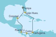 Visitando Tampa (Florida), Cayo Hueso (Key West/Florida), Cartagena de Indias (Colombia), Cartagena de Indias (Colombia), Colón (Panamá), Puerto Limón (Costa Rica), Cozumel (México), Tampa (Florida)