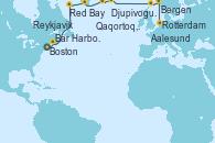 Visitando Boston (Massachusetts), Bar Harbor (Maine), Red Bay (Canadá), Qaqortoq, Greeland, Reykjavik (Islandia), Reykjavik (Islandia), Djupivogur (Islandia), Aalesund (Noruega), Bergen (Noruega), Rotterdam (Holanda)