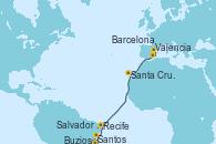 Visitando Santos (Brasil), Buzios (Brasil), Salvador de Bahía (Brasil), Recife (Brasil), Santa Cruz de Tenerife (España), Valencia, Barcelona
