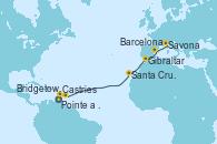 Visitando Pointe a Pitre (Guadalupe), Castries (Santa Lucía/Caribe), Bridgetown (Barbados), Santa Cruz de Tenerife (España), Gibraltar (Inglaterra), Barcelona, Savona (Italia)