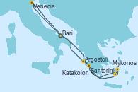 Visitando Bari (Italia), Venecia (Italia), Argostoli (Grecia), Santorini (Grecia), Mykonos (Grecia), Katakolon (Olimpia/Grecia), Bari (Italia)