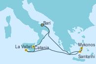 Visitando Bari (Italia), Catania (Sicilia), La Valletta (Malta), Mykonos (Grecia), Santorini (Grecia), Bari (Italia)