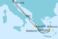 Visitando Venecia (Italia), Argostoli (Grecia), Santorini (Grecia), Mykonos (Grecia), Katakolon (Olimpia/Grecia), Bari (Italia), Venecia (Italia)