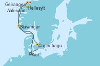 Visitando Kiel (Alemania), Copenhague (Dinamarca), Hellesylt (Noruega), Geiranger (Noruega), Aalesund (Noruega), Stavanger (Noruega), Kiel (Alemania)