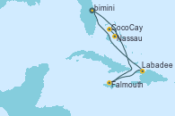 Visitando Puerto Cañaveral (Florida), Nassau (Bahamas), CocoCay (Bahamas), Falmouth (Jamaica), Labadee (Haiti), Puerto Cañaveral (Florida)