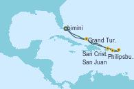 Visitando Puerto Cañaveral (Florida), Philipsburg (St. Maarten), San Cristóbal y Nieves, San Juan (Puerto Rico), Grand Turks(Turks & Caicos), Puerto Cañaveral (Florida)