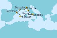 Visitando Marsella (Francia), Barcelona, Palma de Mallorca (España), Nápoles (Italia), Livorno, Pisa y Florencia (Italia), Génova (Italia), Marsella (Francia)