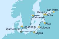 Visitando Warnemunde (Alemania), Gdynia (Polonia), Klaipeda (Lituania), Riga (Letonia), Tallin (Estonia), San Petersburgo (Rusia), San Petersburgo (Rusia), Helsinki (Finlandia), Estocolmo (Suecia), Copenhague (Dinamarca), Warnemunde (Alemania)