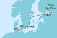 Visitando Copenhague (Dinamarca), Tallin (Estonia), San Petersburgo (Rusia), Kotka (Finlandia), Kiel (Alemania), Copenhague (Dinamarca)