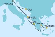 Visitando Venecia (Italia), Brindisi (Italia), Mykonos (Grecia), Atenas (Grecia), Corfú (Grecia), Kotor (Montenegro), Venecia (Italia)
