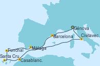 Visitando Génova (Italia), Barcelona, Casablanca (Marruecos), Santa Cruz de Tenerife (España), Funchal (Madeira), Málaga, Civitavecchia (Roma), Génova (Italia)