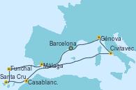 Visitando Barcelona, Casablanca (Marruecos), Santa Cruz de Tenerife (España), Funchal (Madeira), Málaga, Civitavecchia (Roma), Génova (Italia), Barcelona