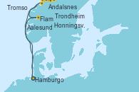 Visitando Hamburgo (Alemania), Flam (Noruega), Andalsnes (Noruega), Trondheim (Noruega), Honningsvag (Noruega), Honningsvag (Noruega), Tromso (Noruega), Aalesund (Noruega), Hamburgo (Alemania)