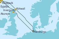 Visitando Hamburgo (Alemania), Invergordon (Escocia), Reykjavik (Islandia), Reykjavik (Islandia), Eyjafjördur (Islandia), Akureyri (Islandia), Kirkwall (Escocia), Hamburgo (Alemania)