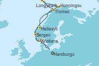 Visitando Hamburgo (Alemania), Kristiansand (Noruega), Bergen (Noruega), Tromso (Noruega), Longyearbyen (Noruega), Honningsvag (Noruega), Honningsvag (Noruega), Hellesylt (Noruega), Hamburgo (Alemania)