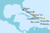 Visitando Miami (Florida/EEUU), Grand Turks(Turks & Caicos), PUERTO PLATA, REPUBLICA DOMINICANA, Charlotte Amalie (St. Thomas), Philipsburg (St. Maarten), San Juan (Puerto Rico), Great Stirrup Cay (Bahamas), Miami (Florida/EEUU)